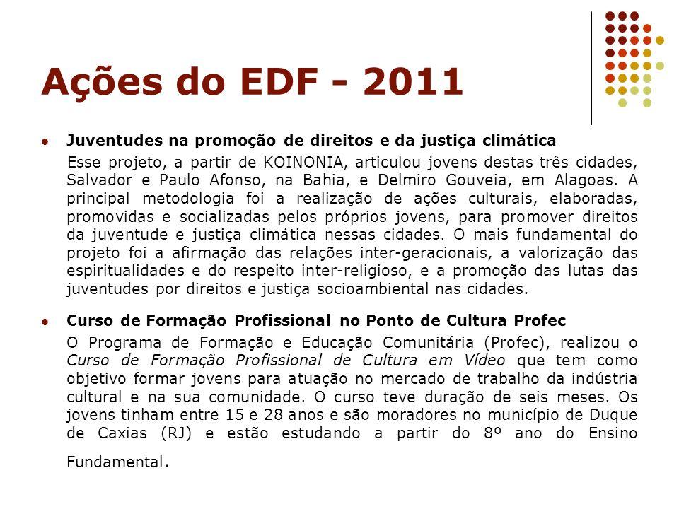 Ações do EDF - 2011 Juventudes na promoção de direitos e da justiça climática.