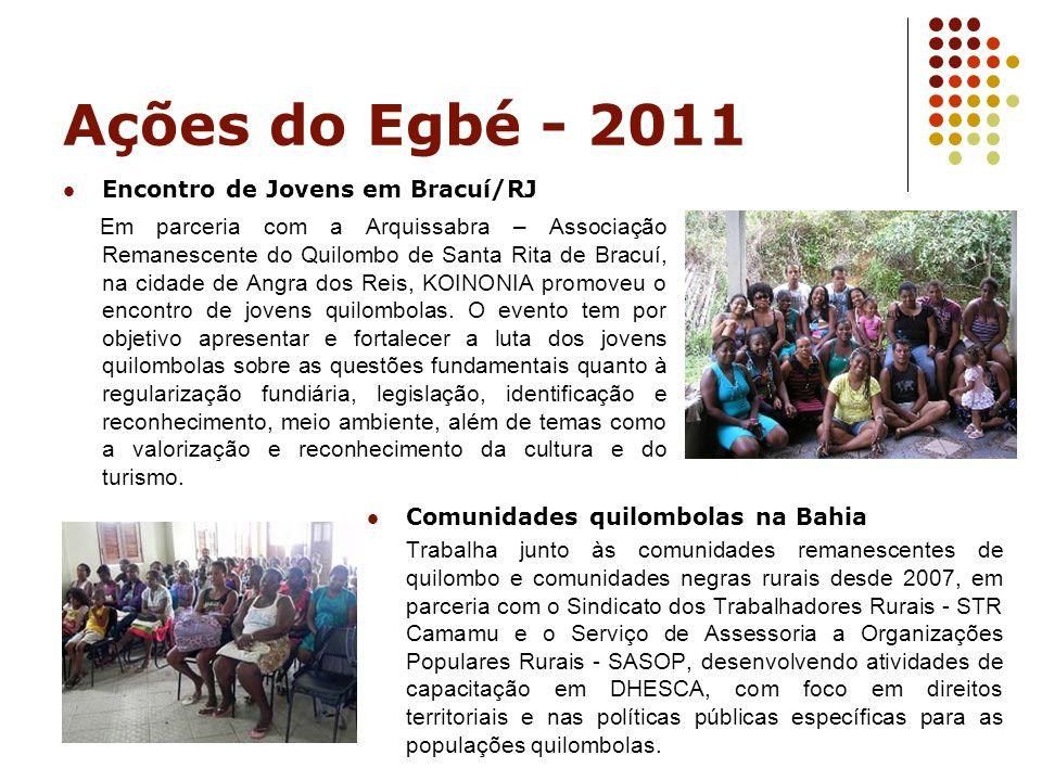 Ações do Egbé - 2011 Encontro de Jovens em Bracuí/RJ.