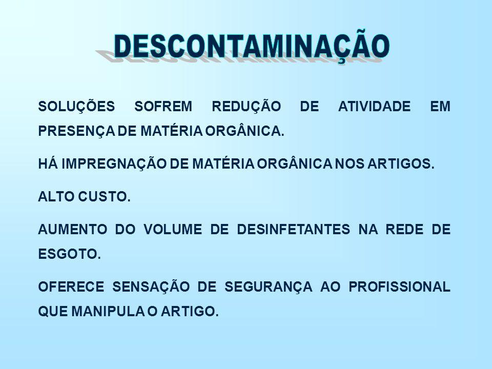 DESCONTAMINAÇÃO SOLUÇÕES SOFREM REDUÇÃO DE ATIVIDADE EM PRESENÇA DE MATÉRIA ORGÂNICA. HÁ IMPREGNAÇÃO DE MATÉRIA ORGÂNICA NOS ARTIGOS.