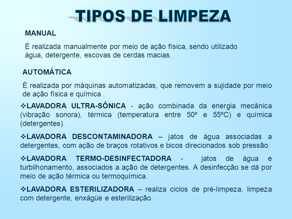 TIPOS DE LIMPEZA MANUAL