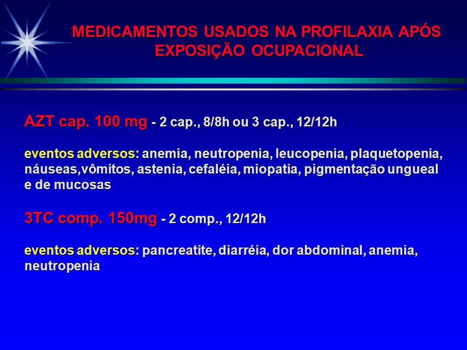 MEDICAMENTOS USADOS NA PROFILAXIA APÓS EXPOSIÇÃO OCUPACIONAL