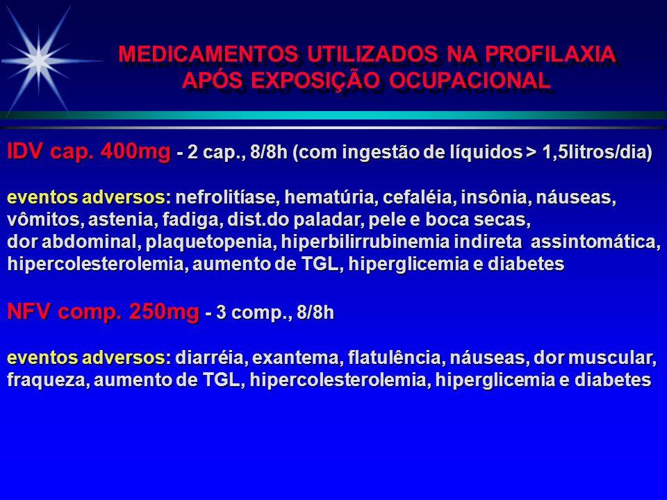 MEDICAMENTOS UTILIZADOS NA PROFILAXIA APÓS EXPOSIÇÃO OCUPACIONAL