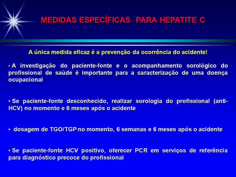 MEDIDAS ESPECÍFICAS PARA HEPATITE C