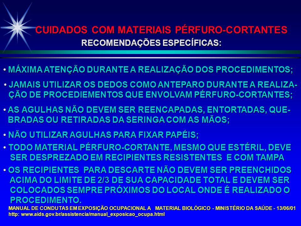 RECOMENDAÇÕES ESPECÍFICAS: