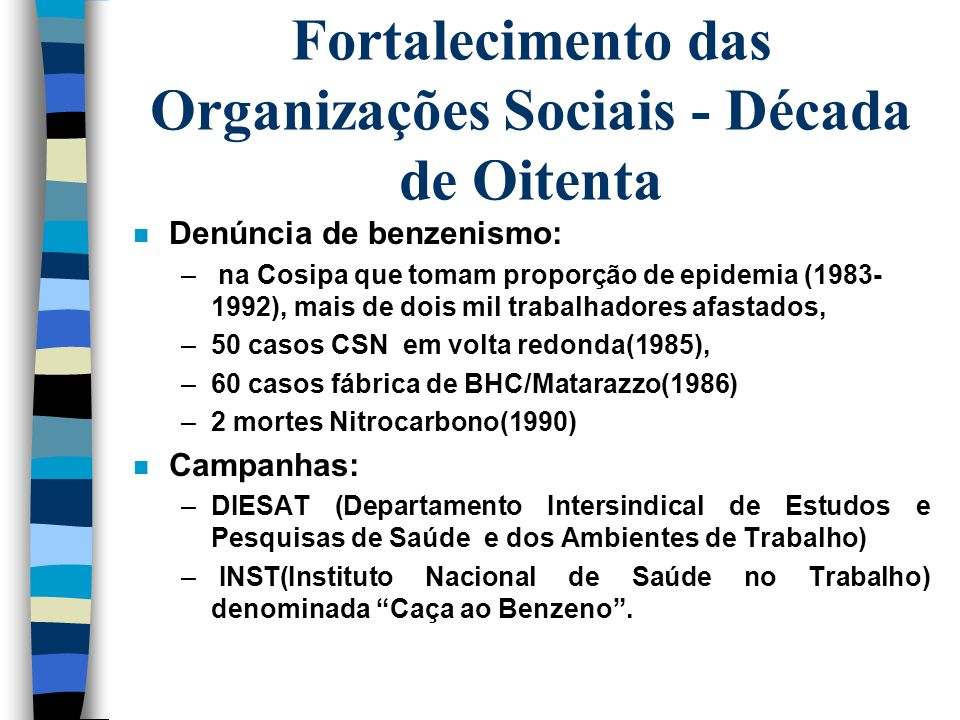 Fortalecimento das Organizações Sociais - Década de Oitenta