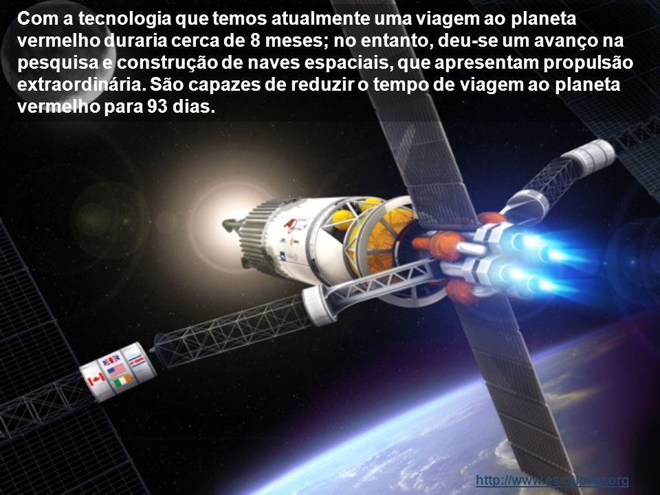 Com a tecnologia que temos atualmente uma viagem ao planeta vermelho duraria cerca de 8 meses; no entanto, deu-se um avanço na pesquisa e construção de naves espaciais, que apresentam propulsão extraordinária.