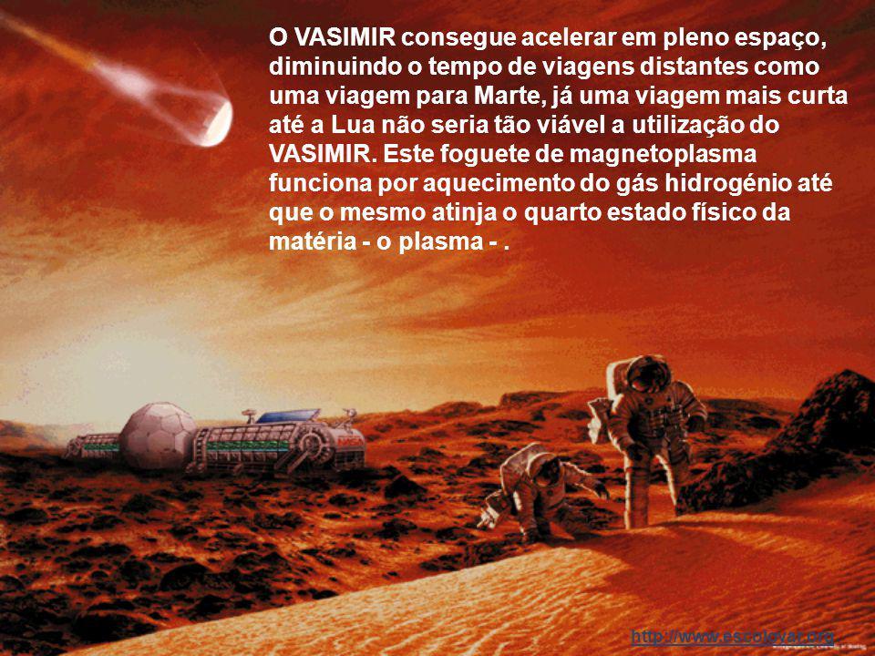O VASIMIR consegue acelerar em pleno espaço, diminuindo o tempo de viagens distantes como uma viagem para Marte, já uma viagem mais curta até a Lua não seria tão viável a utilização do VASIMIR.