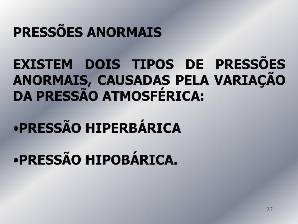 PRESSÕES ANORMAIS EXISTEM DOIS TIPOS DE PRESSÕES ANORMAIS, CAUSADAS PELA VARIAÇÃO DA PRESSÃO ATMOSFÉRICA:
