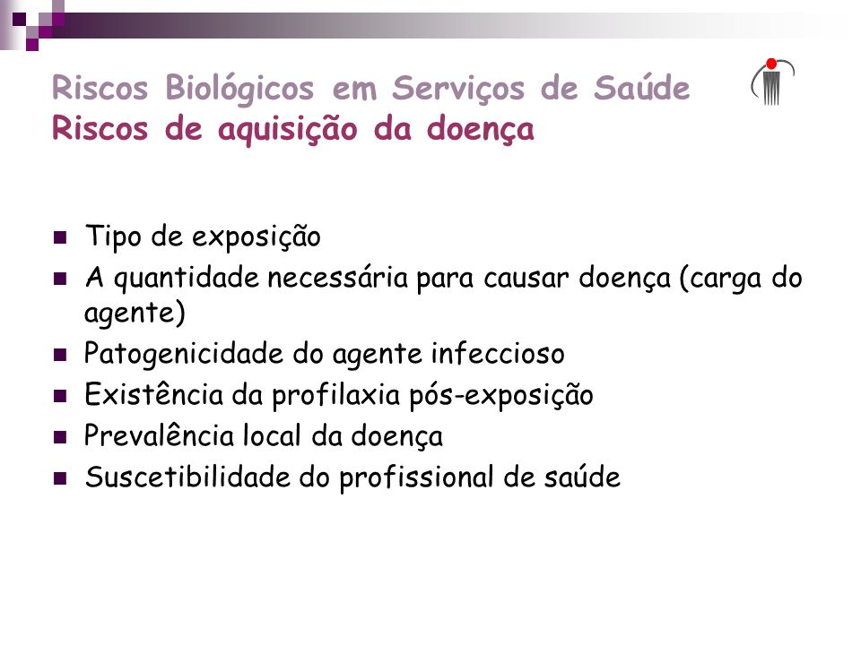 Riscos Biológicos em Serviços de Saúde Riscos de aquisição da doença