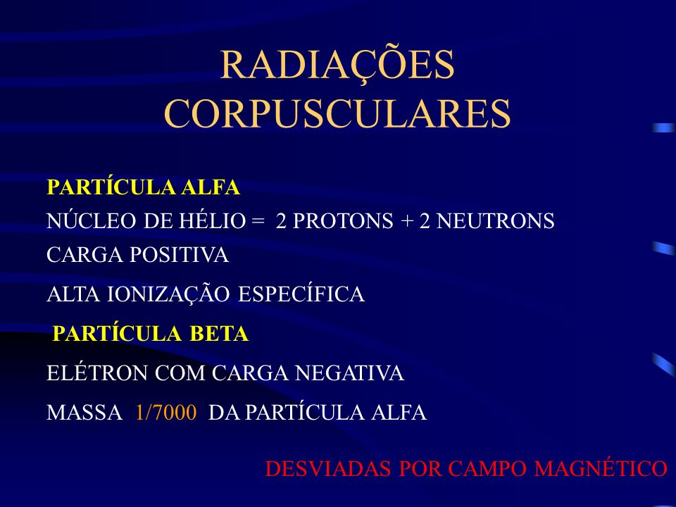 RADIAÇÕES CORPUSCULARES