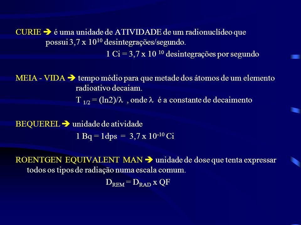 CURIE  é uma unidade de ATIVIDADE de um radionuclídeo que
