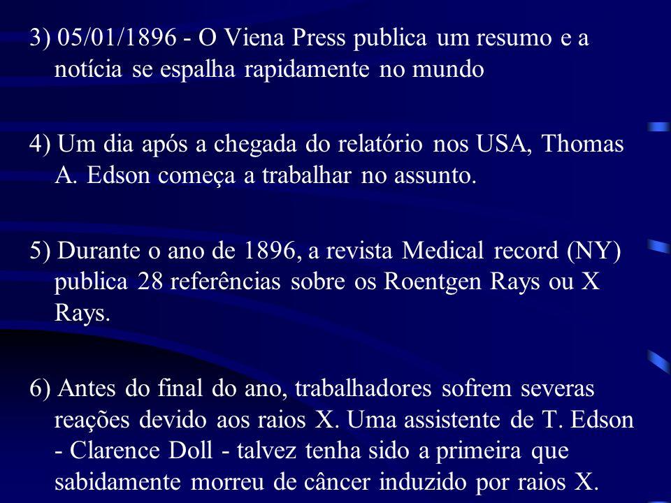3) 05/01/1896 - O Viena Press publica um resumo e a notícia se espalha rapidamente no mundo