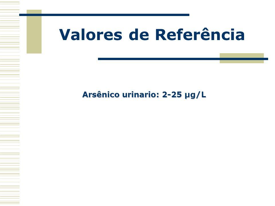 Valores de Referência Arsênico urinario: 2-25 µg/L