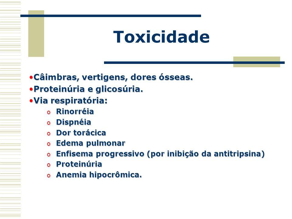 Toxicidade Câimbras, vertigens, dores ósseas.