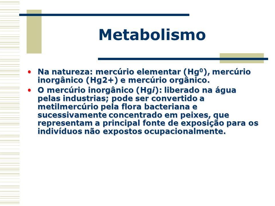 Metabolismo Na natureza: mercúrio elementar (Hg0), mercúrio inorgânico (Hg2+) e mercúrio orgânico.