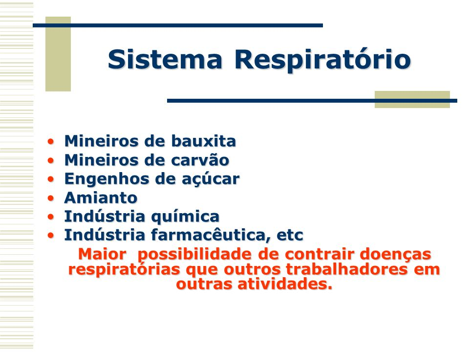 Sistema Respiratório Mineiros de bauxita Mineiros de carvão