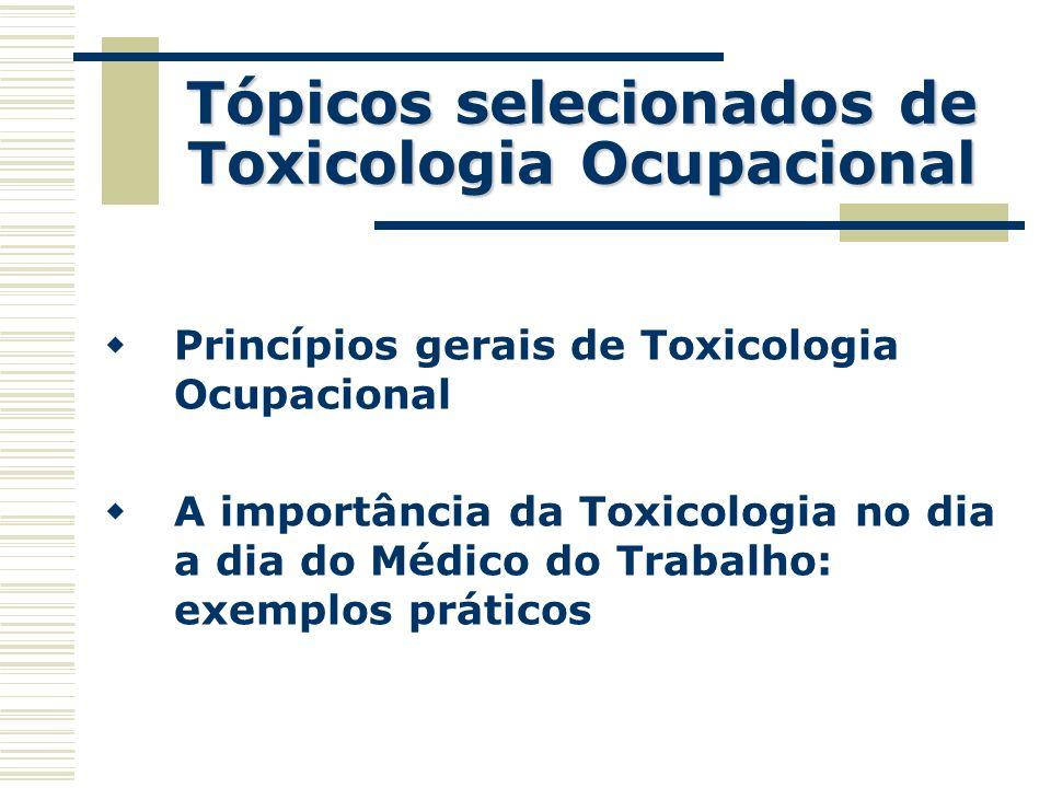 Tópicos selecionados de Toxicologia Ocupacional