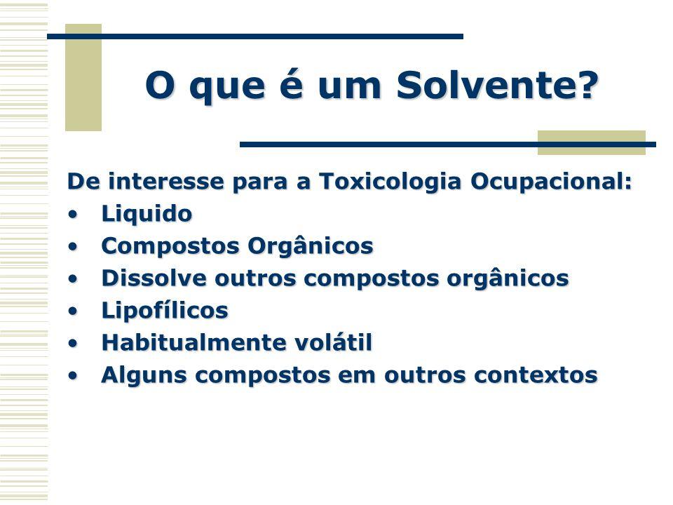 O que é um Solvente De interesse para a Toxicologia Ocupacional: