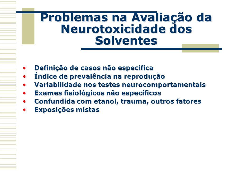 Problemas na Avaliação da Neurotoxicidade dos Solventes