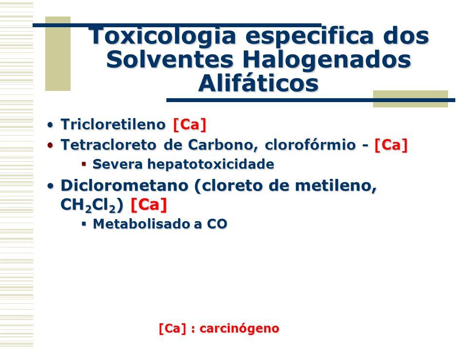 Toxicologia especifica dos Solventes Halogenados Alifáticos
