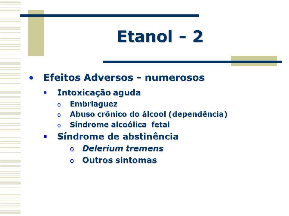 Etanol - 2 Efeitos Adversos - numerosos Síndrome de abstinência