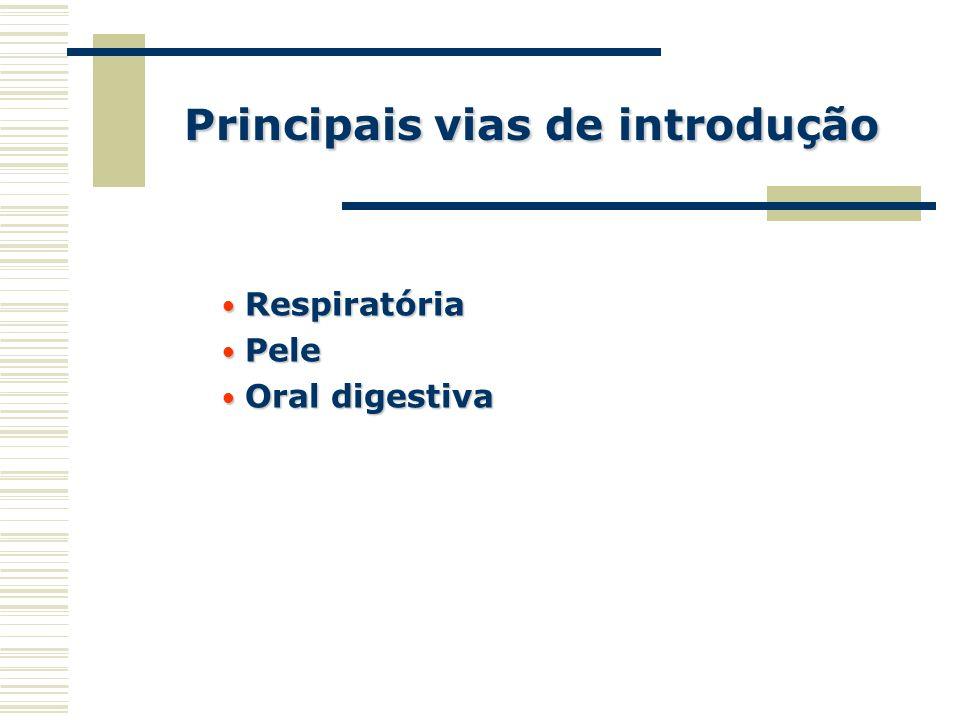 Principais vias de introdução