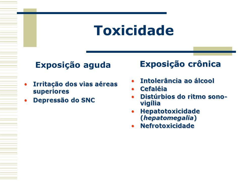 Toxicidade Exposição aguda Exposição crônica Intolerância ao álcool