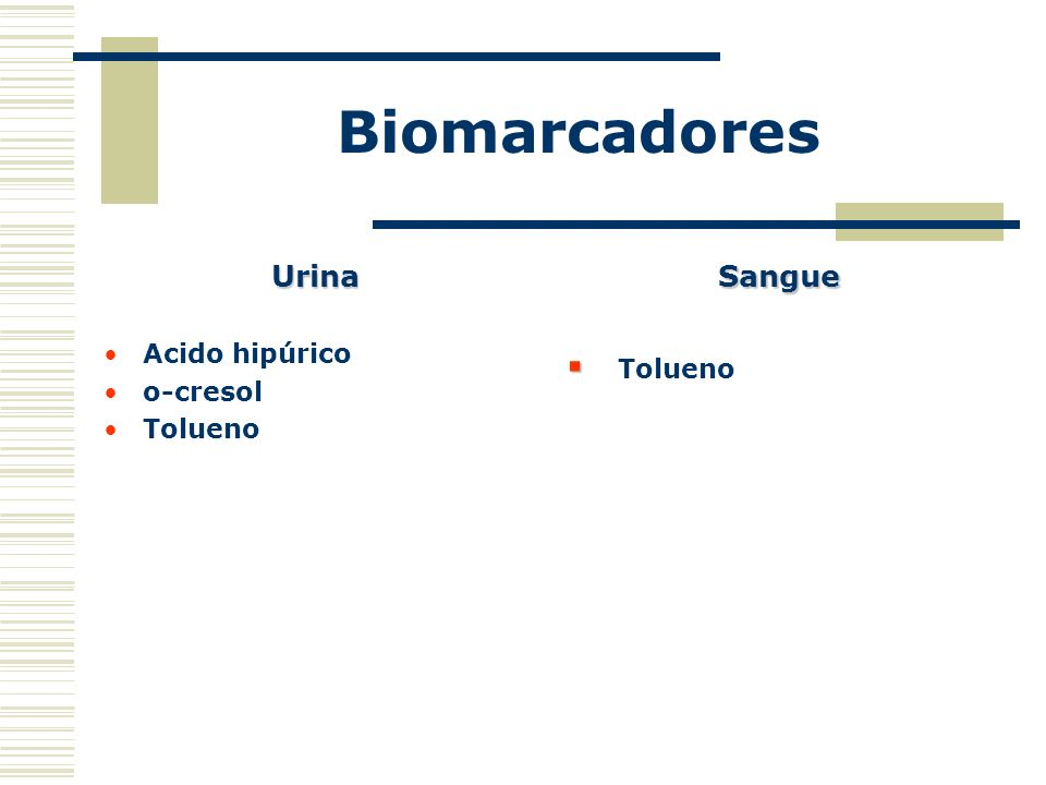 Biomarcadores Urina Acido hipúrico o-cresol Tolueno Sangue Tolueno