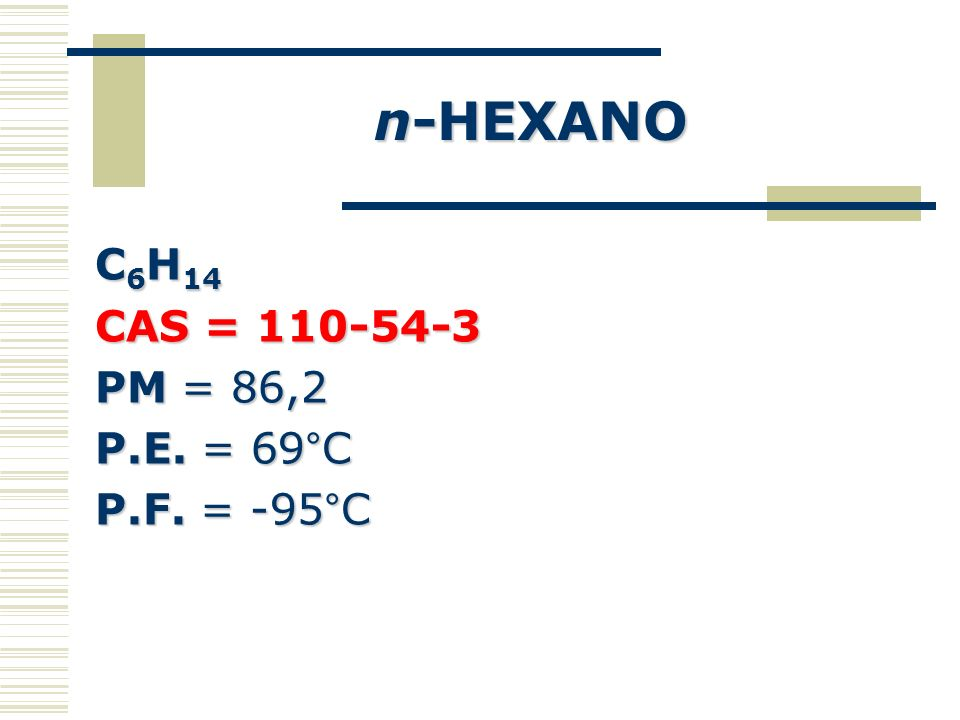 n-HEXANO C6H14 CAS = 110-54-3 PM = 86,2 P.E. = 69°C P.F. = -95°C