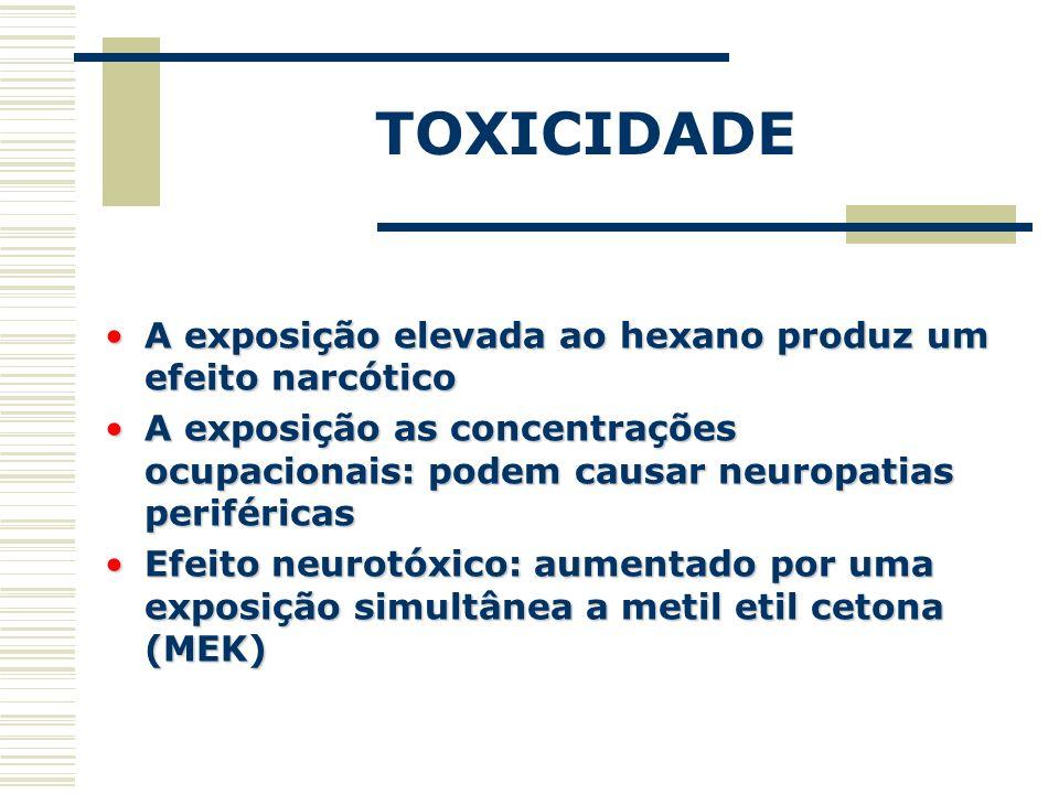 TOXICIDADE A exposição elevada ao hexano produz um efeito narcótico