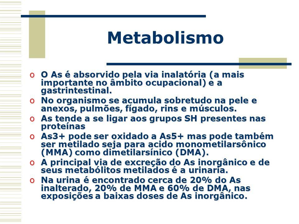 Metabolismo O As é absorvido pela via inalatória (a mais importante no âmbito ocupacional) e a gastrintestinal.