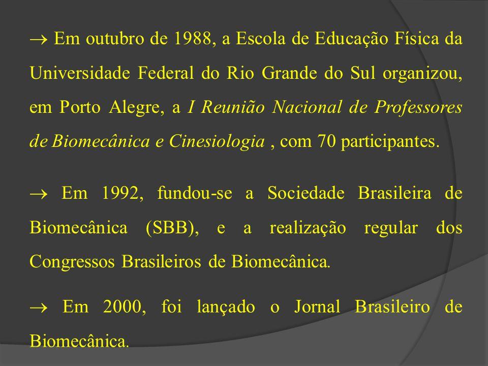  Em outubro de 1988, a Escola de Educação Física da Universidade Federal do Rio Grande do Sul organizou, em Porto Alegre, a I Reunião Nacional de Professores de Biomecânica e Cinesiologia , com 70 participantes.