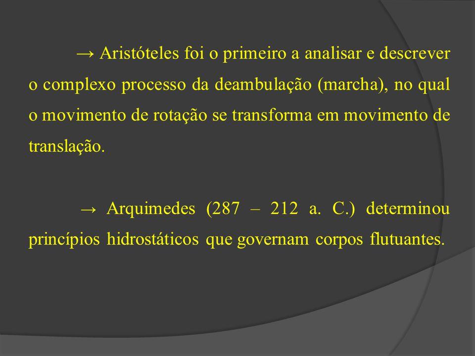 → Aristóteles foi o primeiro a analisar e descrever o complexo processo da deambulação (marcha), no qual o movimento de rotação se transforma em movimento de translação.