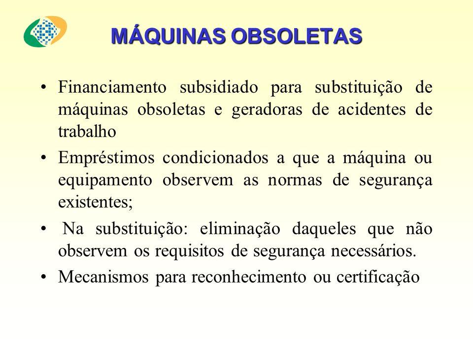 MÁQUINAS OBSOLETAS Financiamento subsidiado para substituição de máquinas obsoletas e geradoras de acidentes de trabalho.