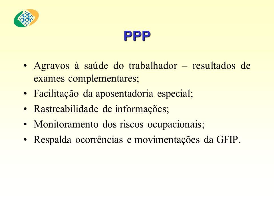 PPP Agravos à saúde do trabalhador – resultados de exames complementares; Facilitação da aposentadoria especial;