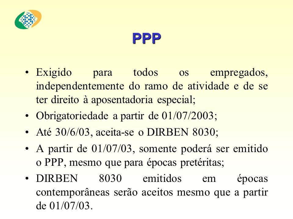PPP Exigido para todos os empregados, independentemente do ramo de atividade e de se ter direito à aposentadoria especial;