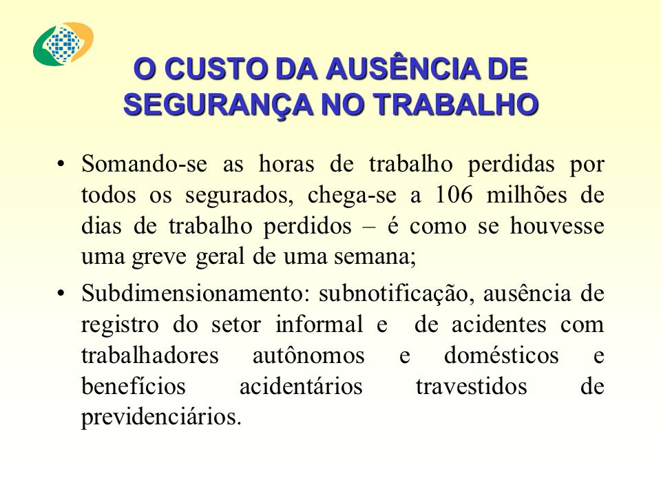 O CUSTO DA AUSÊNCIA DE SEGURANÇA NO TRABALHO