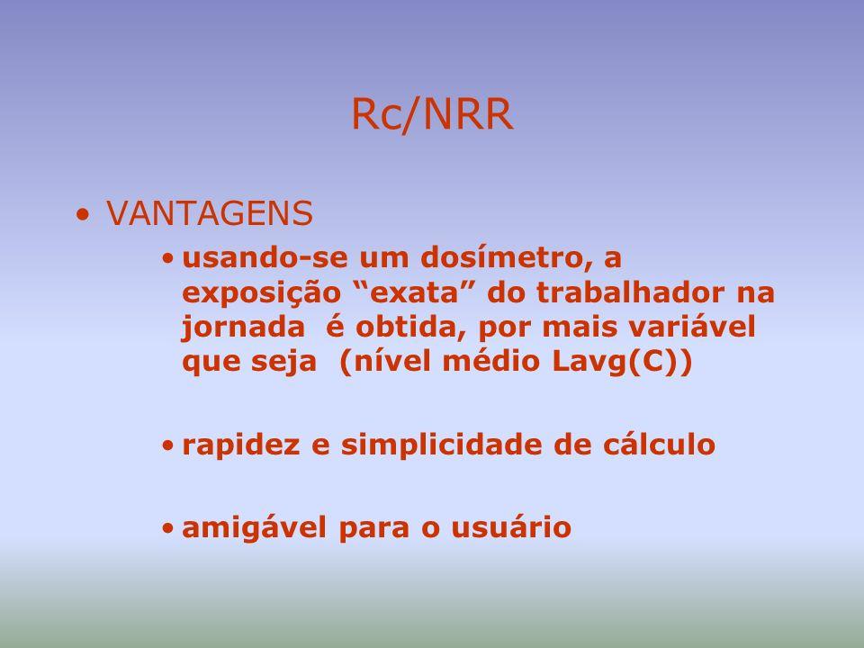 Rc/NRR VANTAGENS. usando-se um dosímetro, a exposição exata do trabalhador na jornada é obtida, por mais variável que seja (nível médio Lavg(C))