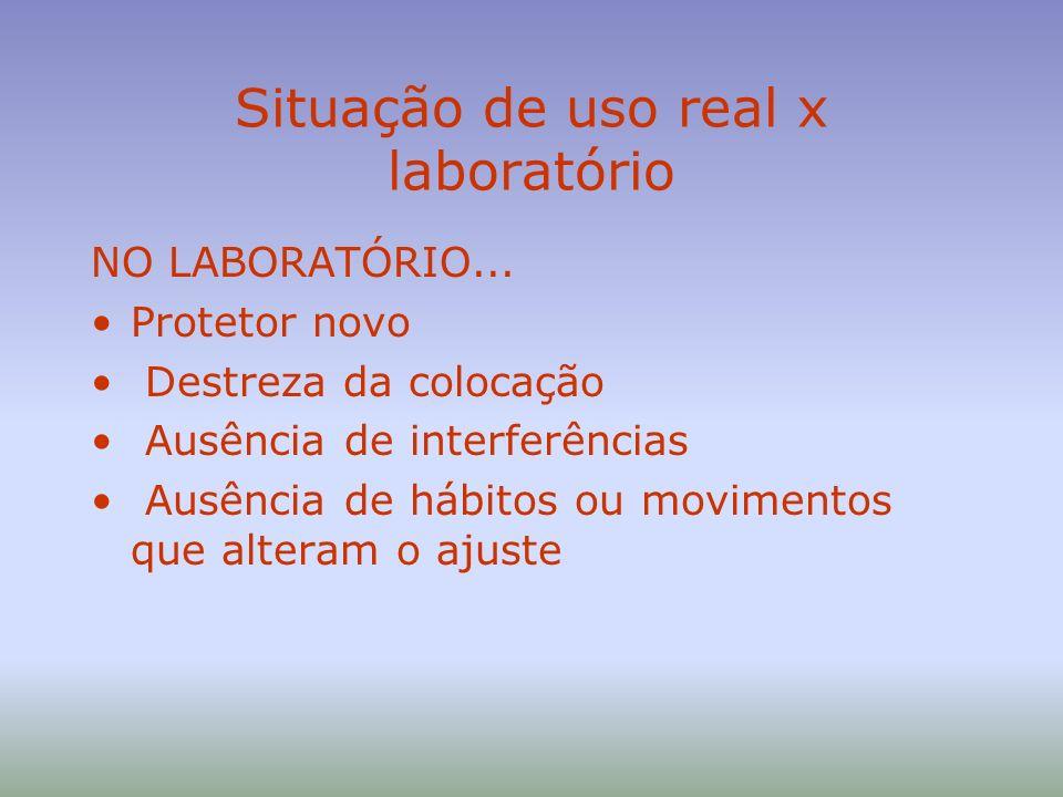Situação de uso real x laboratório