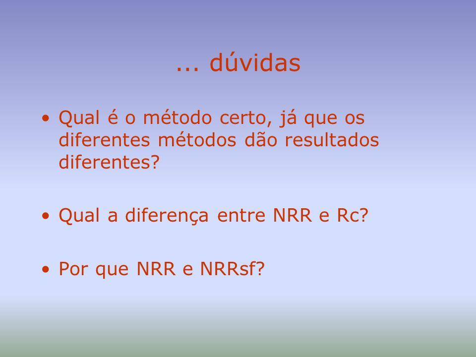 ... dúvidas Qual é o método certo, já que os diferentes métodos dão resultados diferentes Qual a diferença entre NRR e Rc