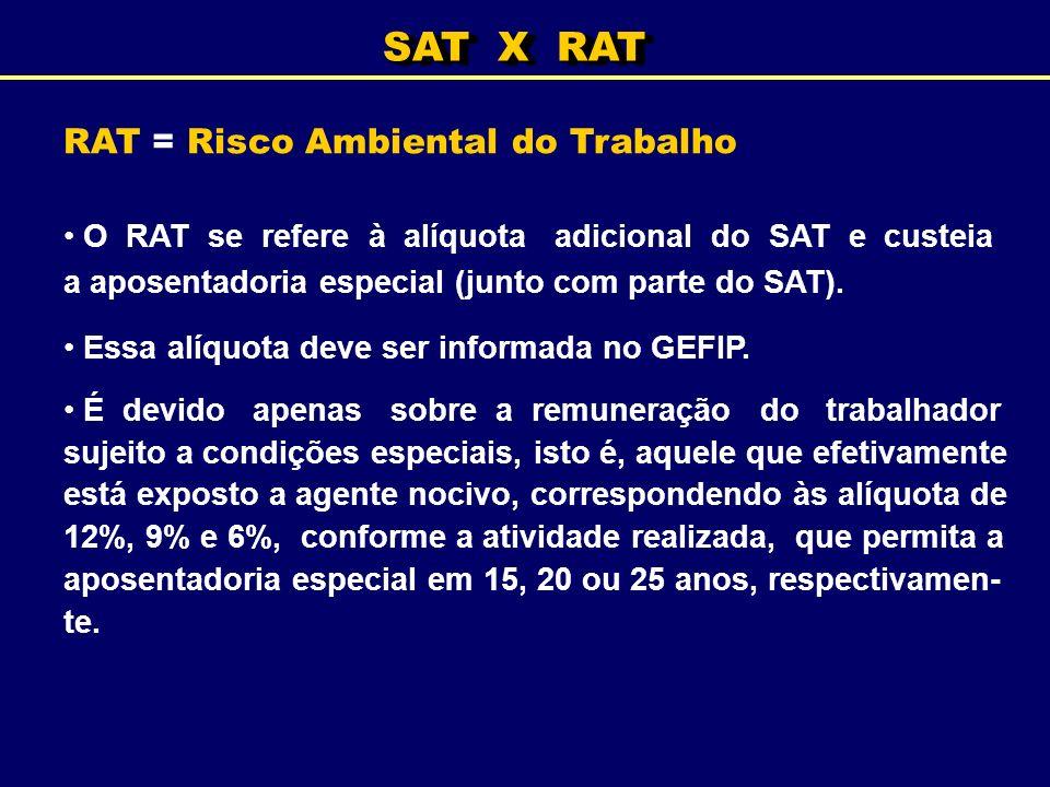 SAT X RAT RAT = Risco Ambiental do Trabalho