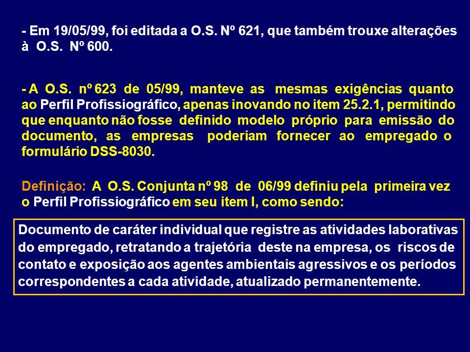 - Em 19/05/99, foi editada a O.S. Nº 621, que também trouxe alterações à O.S. Nº 600.