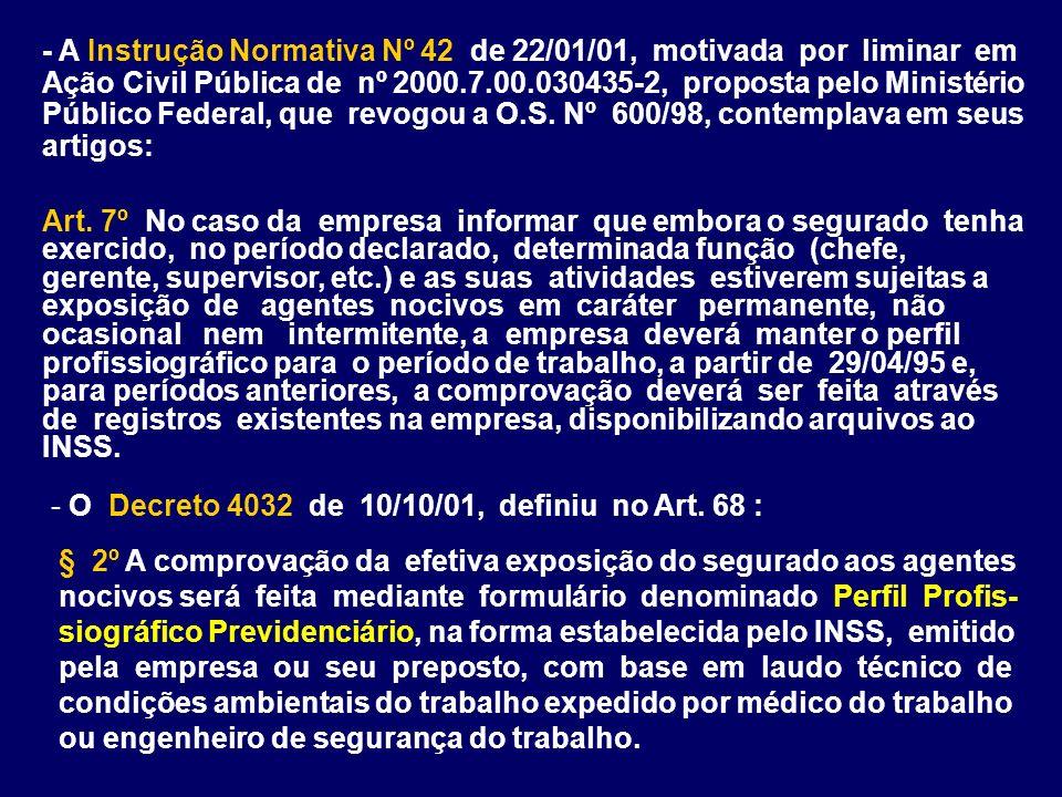 - A Instrução Normativa Nº 42 de 22/01/01, motivada por liminar em Ação Civil Pública de nº 2000.7.00.030435-2, proposta pelo Ministério Público Federal, que revogou a O.S. Nº 600/98, contemplava em seus artigos: