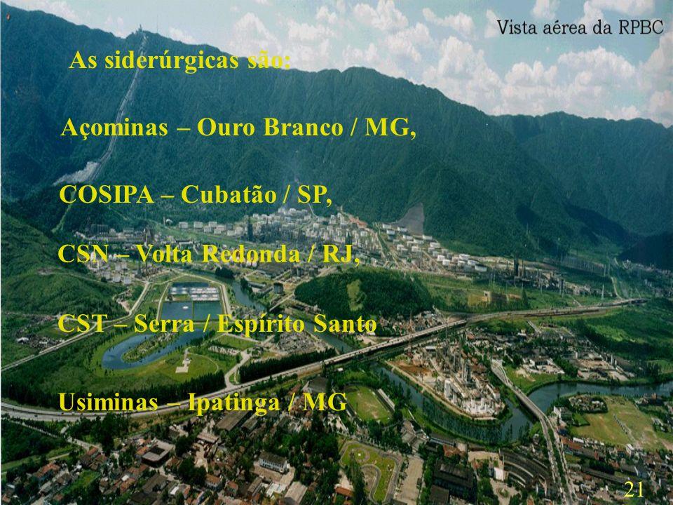 As siderúrgicas são:Açominas – Ouro Branco / MG, COSIPA – Cubatão / SP, CSN – Volta Redonda / RJ, CST – Serra / Espírito Santo.