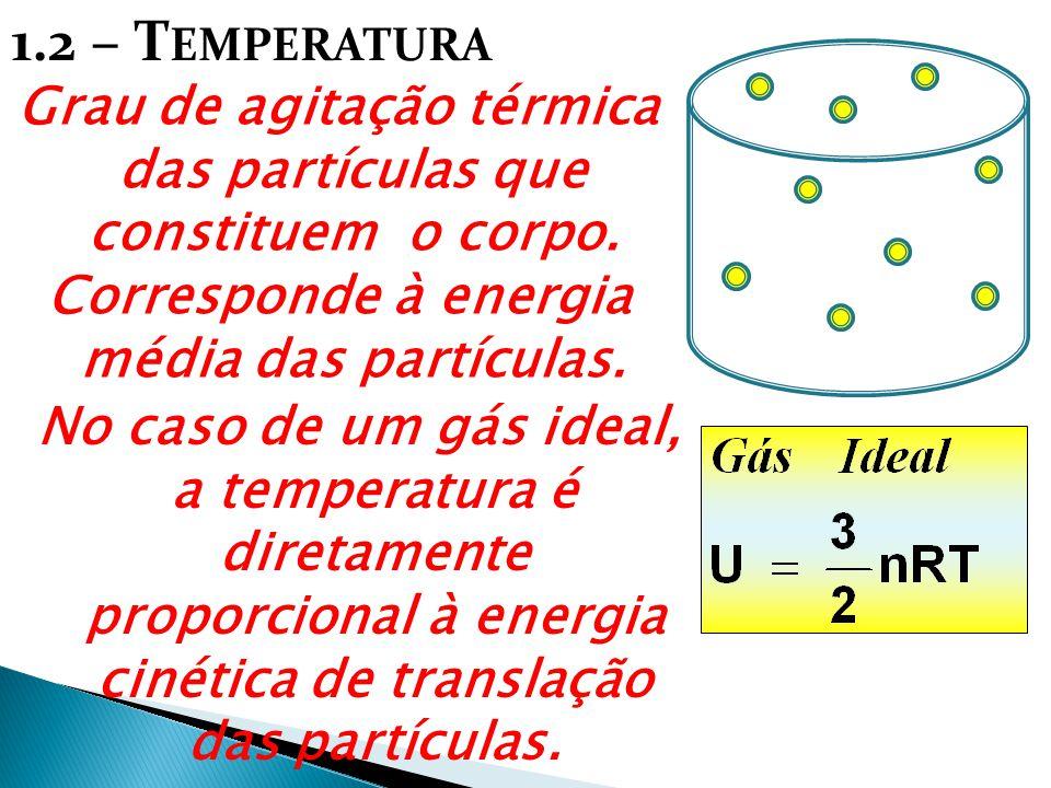 1.2 – Temperatura Grau de agitação térmica das partículas que constituem o corpo. Corresponde à energia média das partículas.