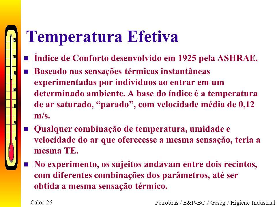 Temperatura Efetiva Índice de Conforto desenvolvido em 1925 pela ASHRAE.
