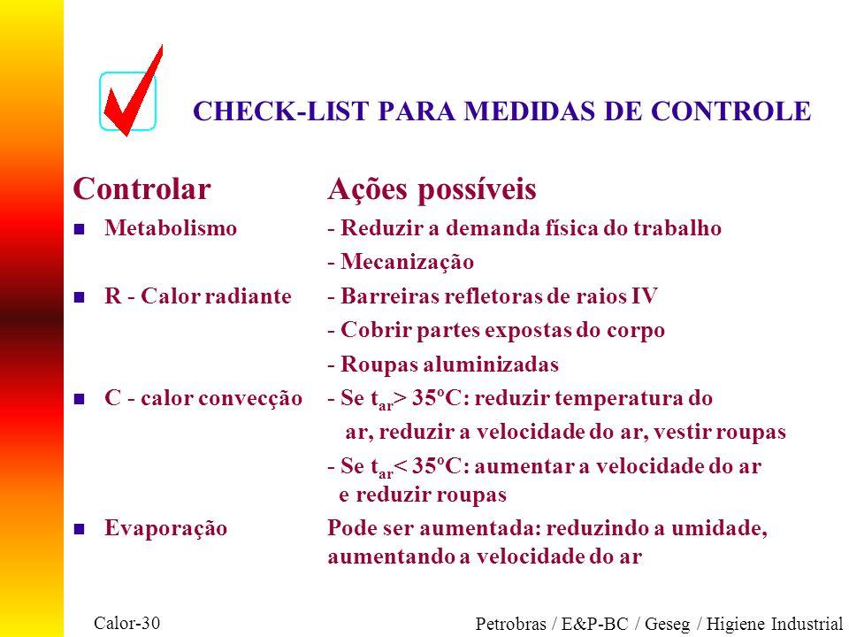CHECK-LIST PARA MEDIDAS DE CONTROLE