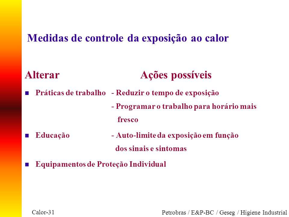 Medidas de controle da exposição ao calor