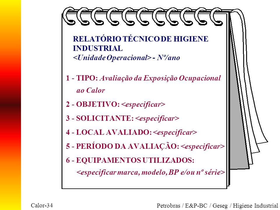 1 - TIPO: Avaliação da Exposição Ocupacional ao Calor