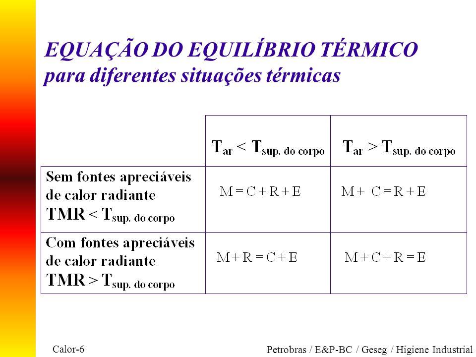 EQUAÇÃO DO EQUILÍBRIO TÉRMICO para diferentes situações térmicas